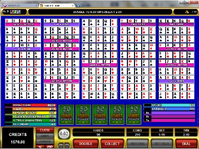 Aces and Faces 50 Play Power Video Poker