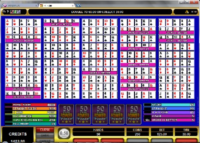 All Aces 50 Play Power Poker