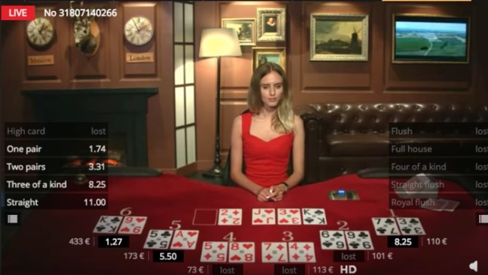 Bet on Poker live dealer game