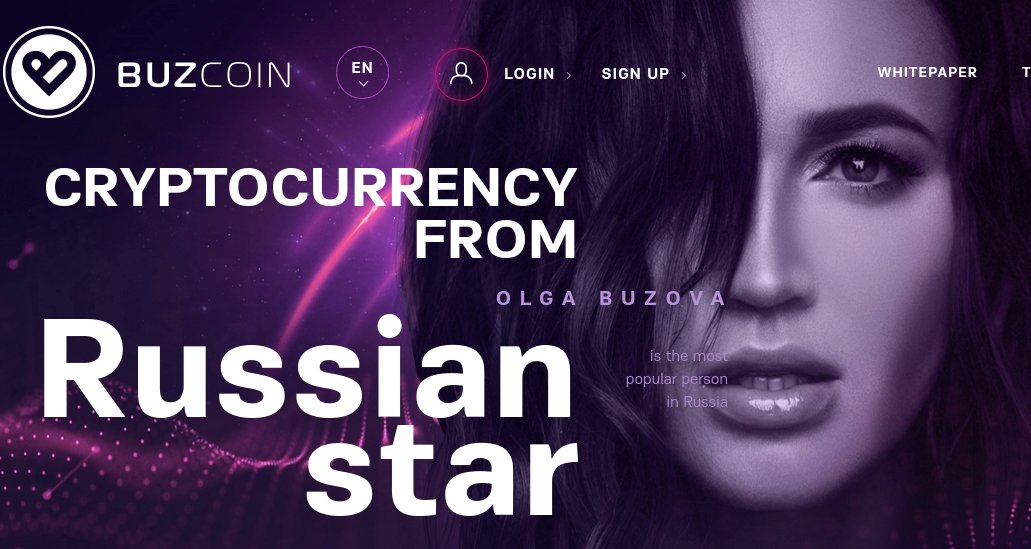 Olga Buzova Buzcoin cryptocurrency for Buzar App