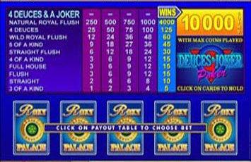 Deuces And Joker Video Poker Freeplay