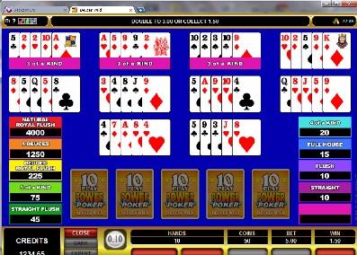 Deuces Wild 10 Play Power Poker