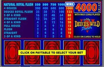 Deuces Wild Video Poker Freeplay