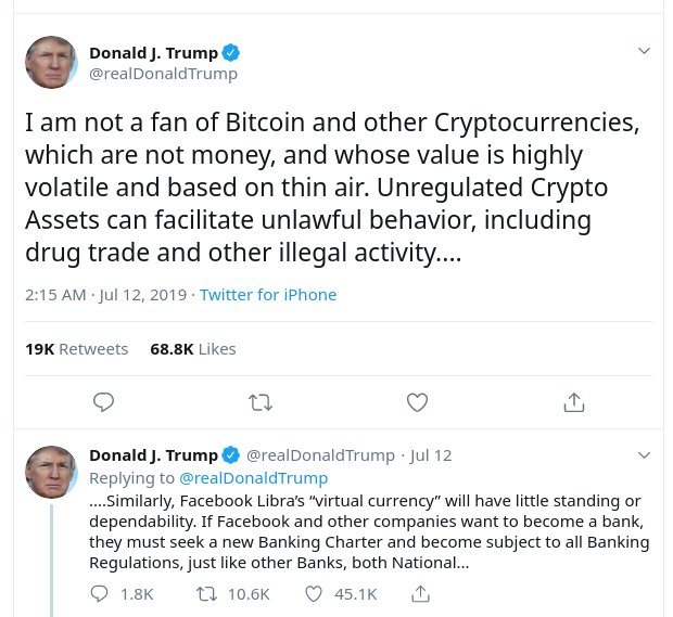 USA President Donald Trump said Bitcoin is not Money
