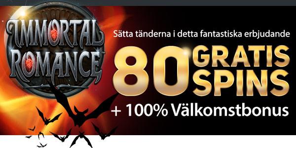 80 GRATIS SPINS + 100% Välkomstbonus