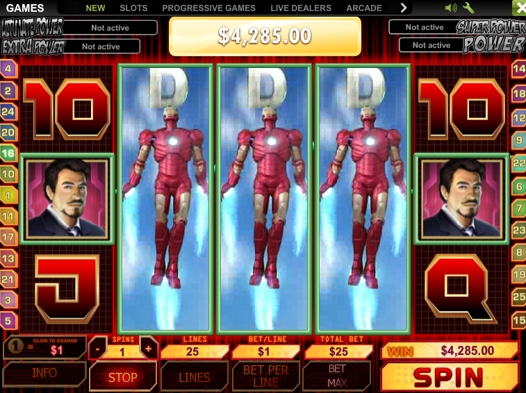 Iron Man slot game Playtech Marvel series