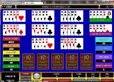 Jacks or Better 10 Play Power Poker