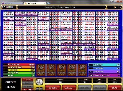 Jacks or Better 100 Play Poker