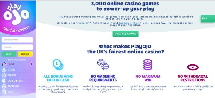 PlayOJO Canada India free spins