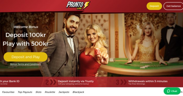 Pronto Live Casino Sweden