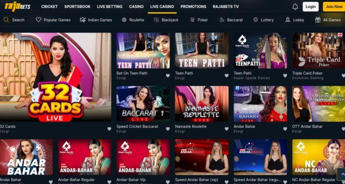 Rajabets India Live Games Casino