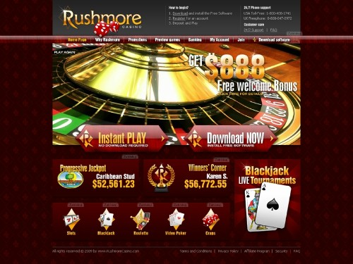 Rushmore Online Casino - $888 Welcome Bonus