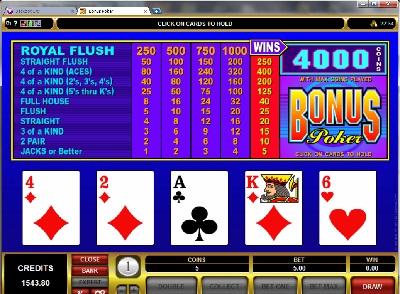 Standard Bonus Poker