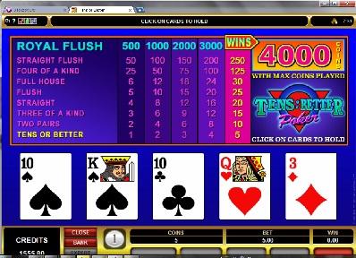 Standard Tens or Better Video Poker