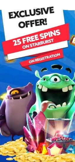 Starburst slot game - 25 free spins promotion
