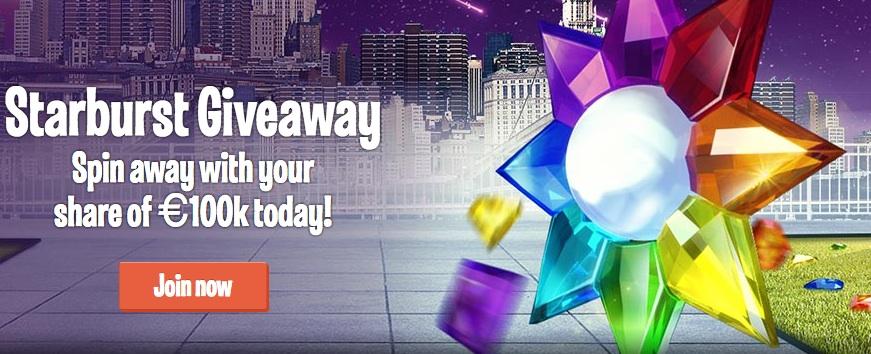 Starburst slot game - 100K promotion