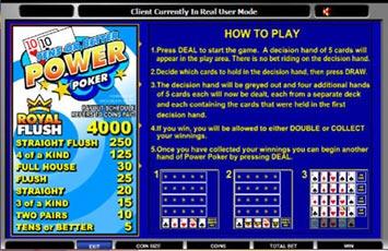 Tens Or Better Power Poker Freeplay