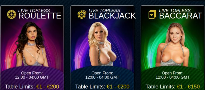 Topless Blackjack and Roulette
