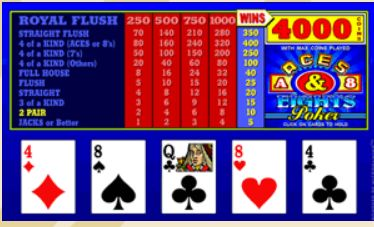 Videopoker Aces And Eights Video Poker