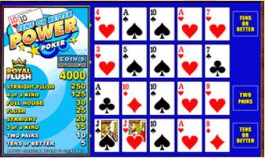 Videopoker Tens Or Better Power Poker