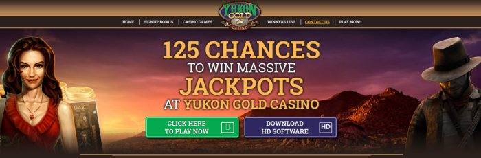 Yukon Gold Casino Canada - 125 free chances to win
