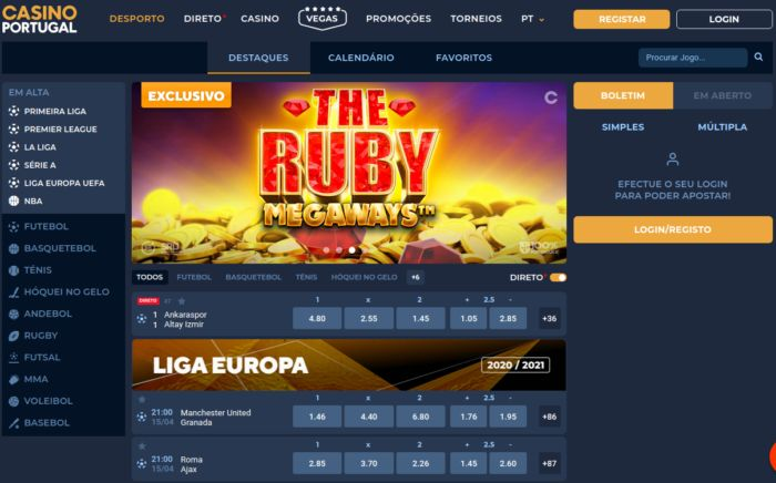 Tela inicial do CasinoPortugal